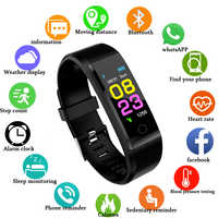 2019 New 115 Plus Smart Watch Men Women Heart Rate Monitor Blood Pressure Fitness Tracker Smartwatch Sport Watch for Ios Android
