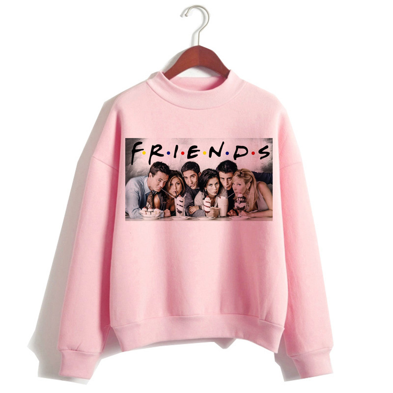 Friends Tv Shows Women Hoodie Pink Clothing Harajuku Ulzzang Sweatshirt Hood Oversized Streetwear Female Graphic Hip Hop
