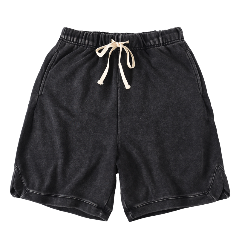 Europe And America High Street Elastic Waist Cotton Loose Washed Old Hem Slit Summer Men's Casual Sports Shorts Tide
