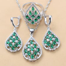 6-Color Attractive Hollow Water Drop Green CZ Dangle Earrings Bracelet And Ring 925 Sterling Silver Women Bridal Jewelry Sets(China)