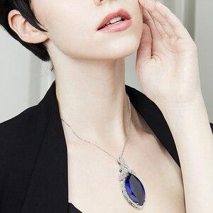 Image 5 - PANSYSEN nowy projekt ślub marka Big Mariquesa Ruby Sapphire wisiorek naszyjniki dla kobiet srebro 925 biżuteria naszyjnik Party prezent