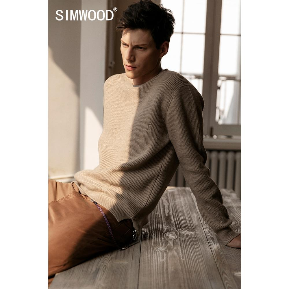 SIMWOOD 2019 Autumn Winter New Distressed Pullover Sweater Men Ripped Hole Warm Knitwear Plus Size Casual Sweaters SI980566