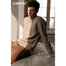 SIMWOOD 2019 秋冬新ユーズド加工プルオーバーセーター男性は穴暖かいニットプラスサイズカジュアルセーター SI980566