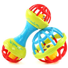Baby Rattles Toy Food Grade Teething Rattle Plastic Hand Bell Intelligence Grasping Gums Baby Teether Toy for 0-3years(China)