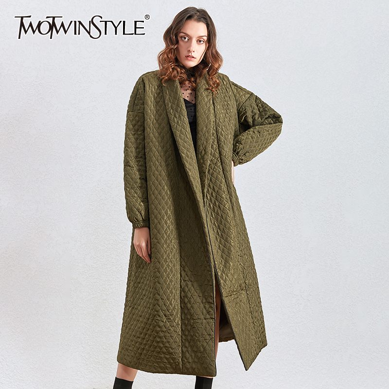 TWOTWINSTYLE Argyle Cotton Coat For Women Lapel Collar Lantern Long Sleeve Loose Female Parkass Clothing 2020 Winter Fashion New