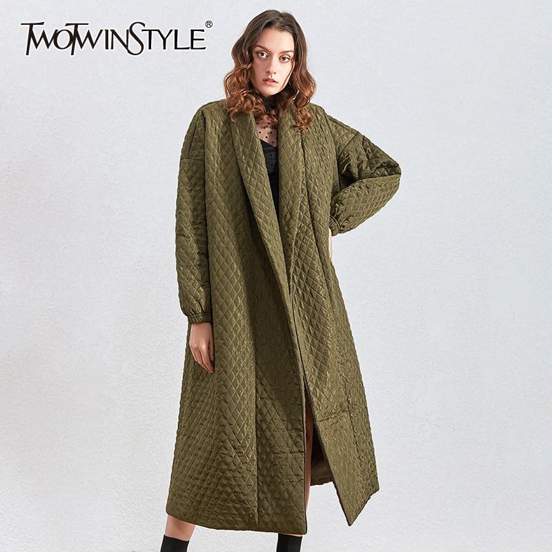 TWOTWINSTYLE Argyle Cotton Coat For Women Lapel Collar Lantern Long Sleeve Loose Female Parkass Clothing 2020 Winter Fashion New