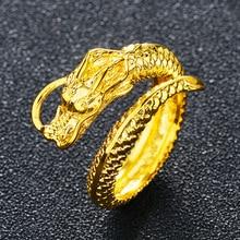 Vietnam Alluvial Gold Dragon Phoenix Couples Wedding Rings Adjustable Jewelry Wholesale