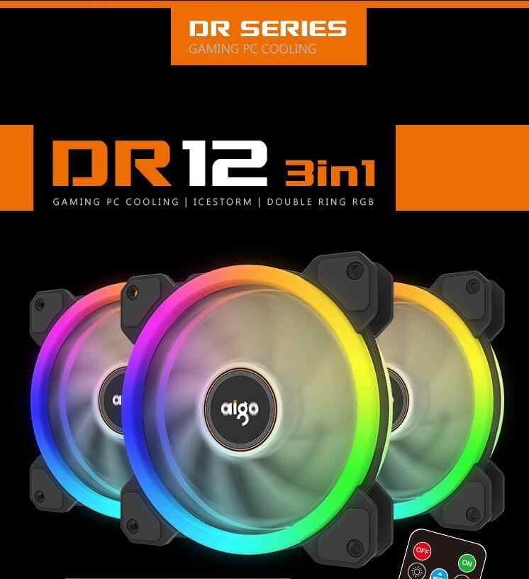 Aigo DR12 coque d'ordinateur PC ventilateur de refroidissement barre lumineuse rvb ajuster LED 120mm silencieux + IR refroidisseur à distance ventilateur bandes lumineuses led