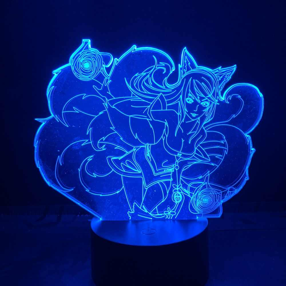 USB หรือแบตเตอรี่ Powered โคมไฟตั้งโต๊ะ League of Legends HERO Ahri Lore Nine Tailed Fox TOUCH SWITCH ห้อง 3D LED Night Light LOL