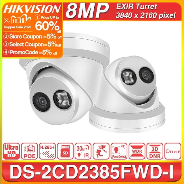هيكفيجن الأصلي 8MP IP كاميرا DS 2CD2385FWD I شبكة كاميرا تلفزيونات الدوائر المغلقة H.265 CCTV الأمن POE WDR SD فتحة للبطاقات