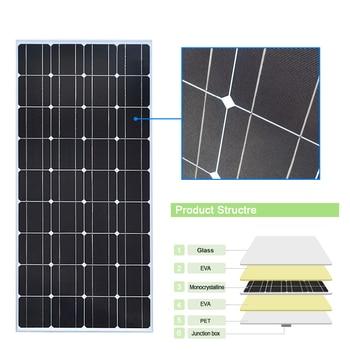 Glass Solar panel 200W equal 2pcs of 100W Monocrystalline solar cell 12V solar charger mono solar panel RV Home Boat 300W 400W 5