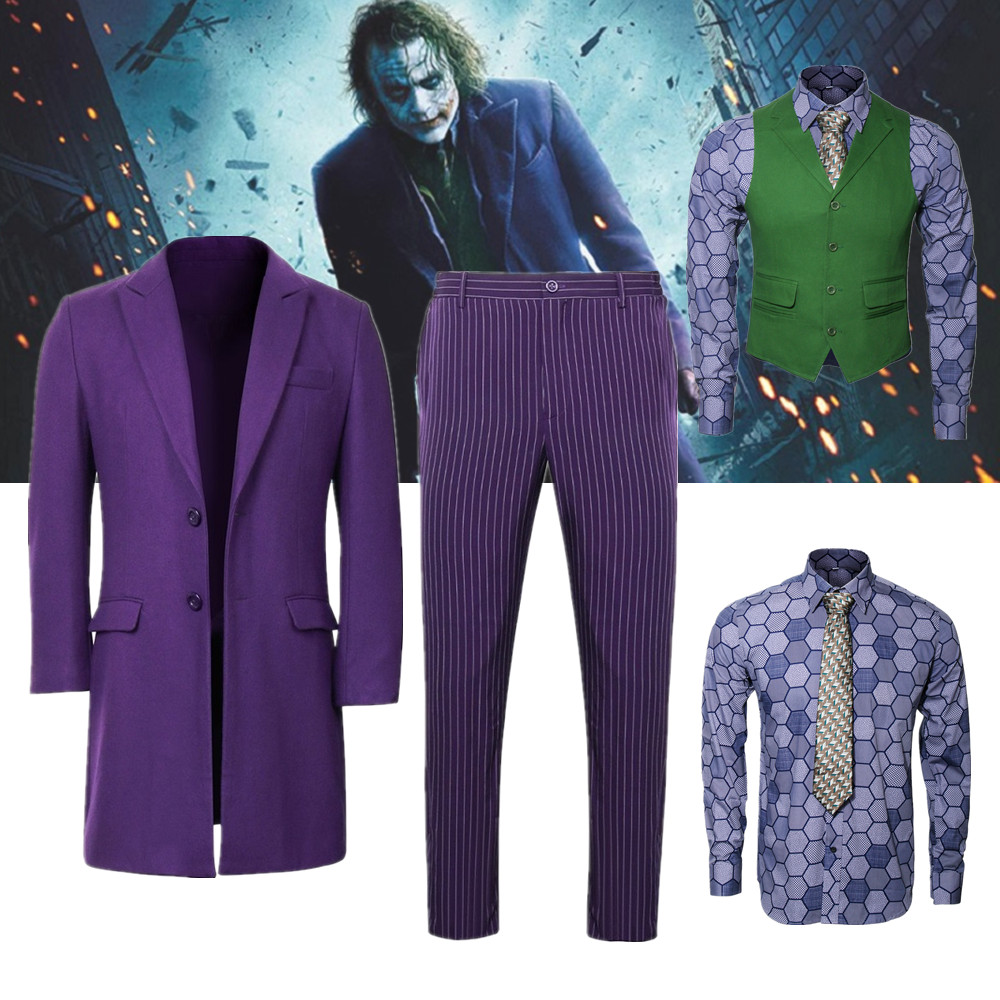 Batman Dark Knight Joker Cosplay Costume Adult Men Purple Overcoat Shirt Green Vest Tie Halloween Movie Suits Carnival Outfit