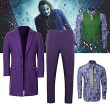 Batman Dark Knight Joker Cosplay Costume Adult Men Purple Ov