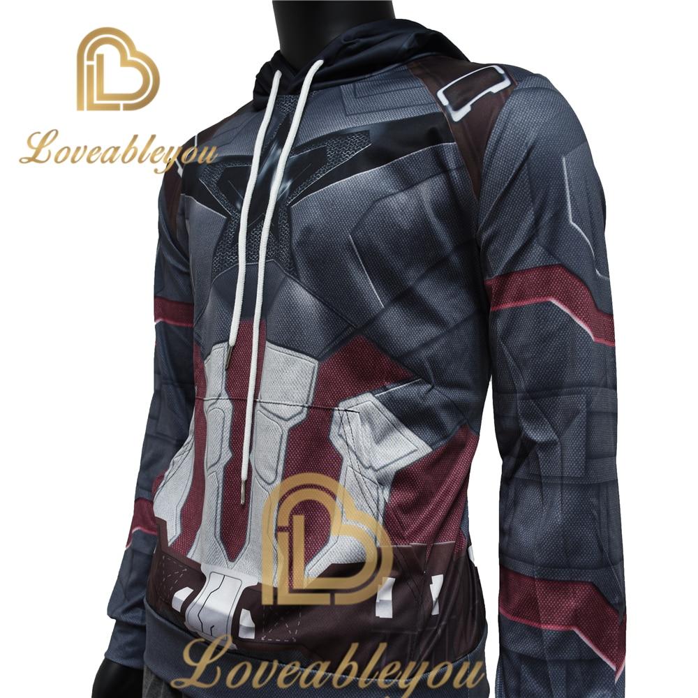 YINUODAIL The Avengers Superhero Captain America 3D Hoody Sweatshirt Homme Long Sleeve Halloween Cosplay Costume