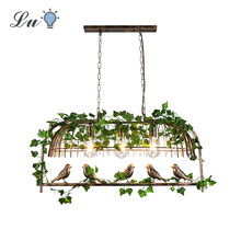 Retro Industrial Wind LED Pendent Light E27 Originality Iron Art Birdcage Lights Fixture Restaurant Bar Plant bird Hanging Lamp(China)