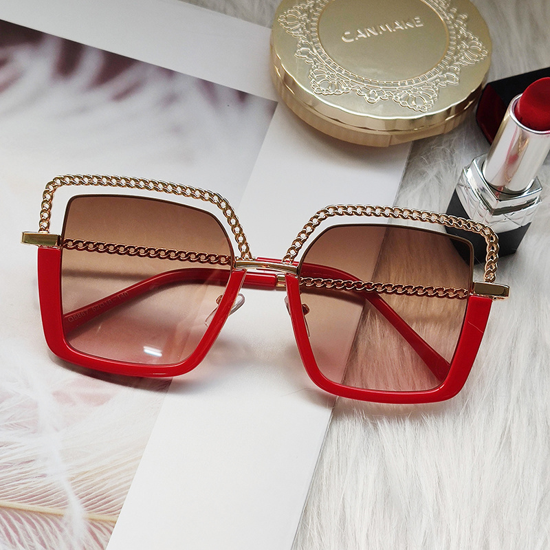 Luxury Square Sunglasses Women Metal Half Frame Sun Glasses Brand Design Female Shades Ladies Fashion Trending Eyeglasses UV400