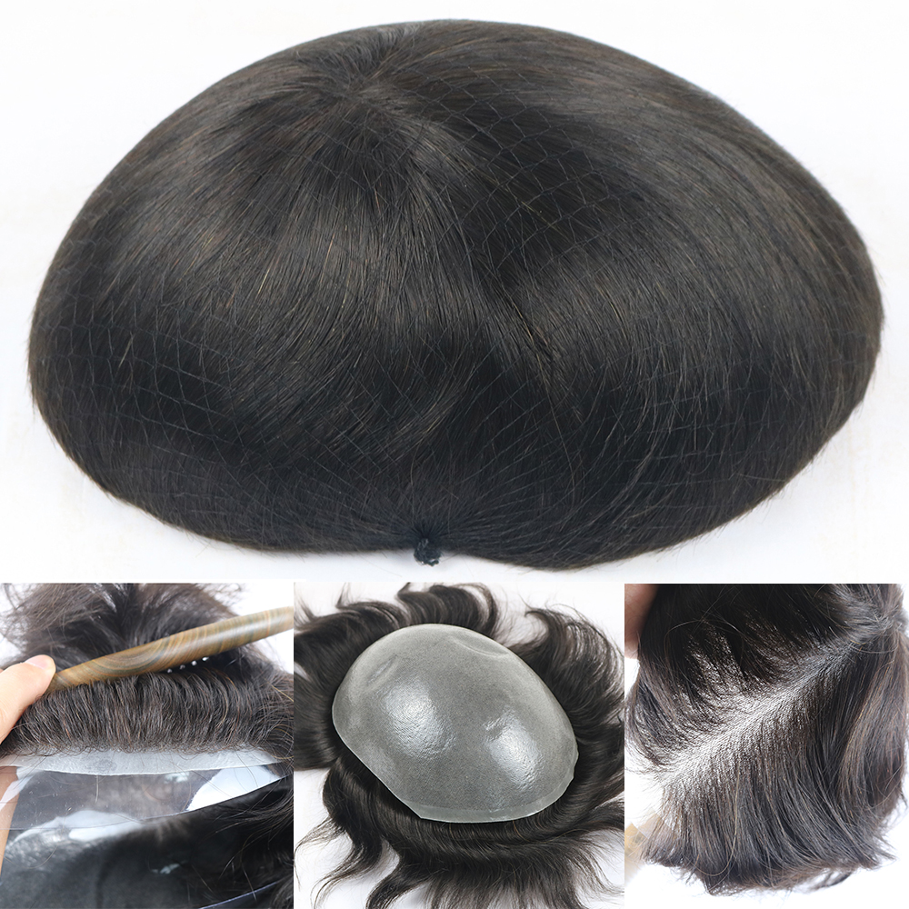 Natural Hairline Mens Hairpieces Toupee Super Invisible 0.06-0.08MM Thin Skin Single Knot Mens Toupee Hair Replacement Systems
