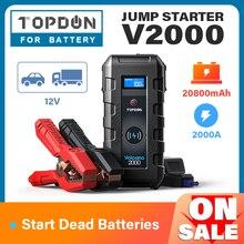 TOPDON – démarreur d'urgence de saut de voiture V2000, chargeur sans fil, 20800mAh, 12V, 2000a