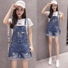Short Overalls Jumpsuits Rompers Denim Street-Style Fashion Hole-Cowboy And