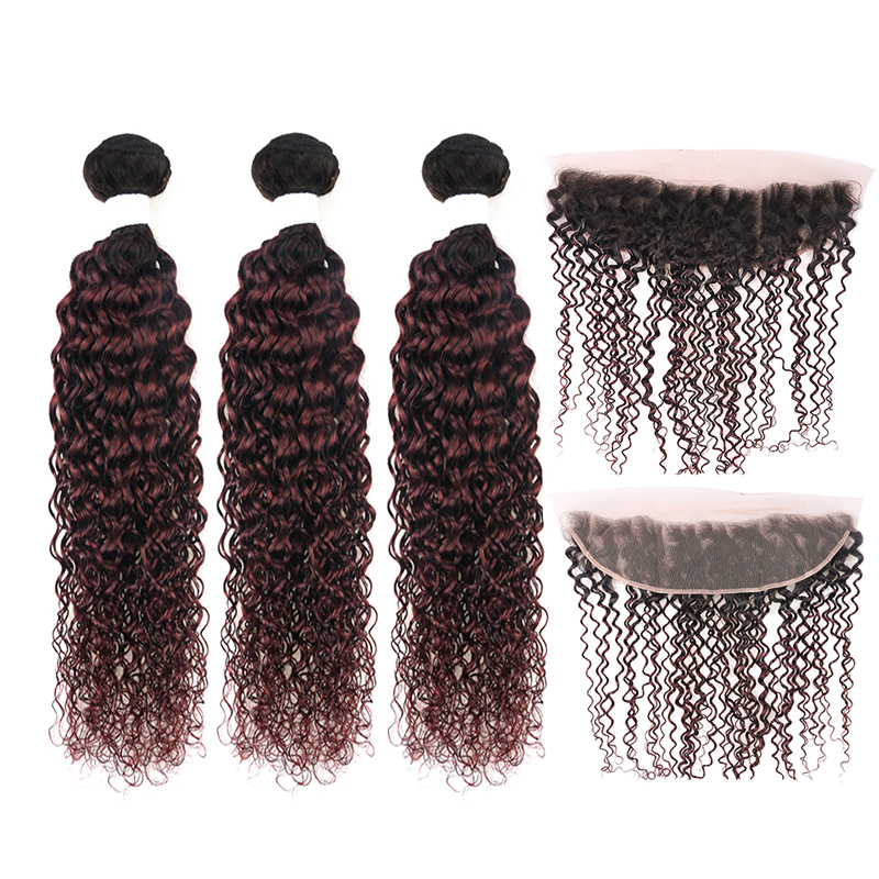 Brazilian Two Tone Kinky Curly Hair Bundles With Closure T1B/99J Burg Human Hair Weaving With 13*4 Frontal KEMY HAIR Non-remy