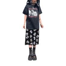 Hirigin Women Y2k Gothic Skirt Fashion with Skull / Leopard Print, High Waist Version Straight Design Summer Clothing
