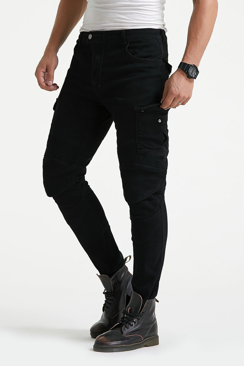 Cross Border For Racing Suit Pants Motorcycle Riding Jeans Slim Fit Pure Black Locomotive Shatter-resistant Jeans Ride