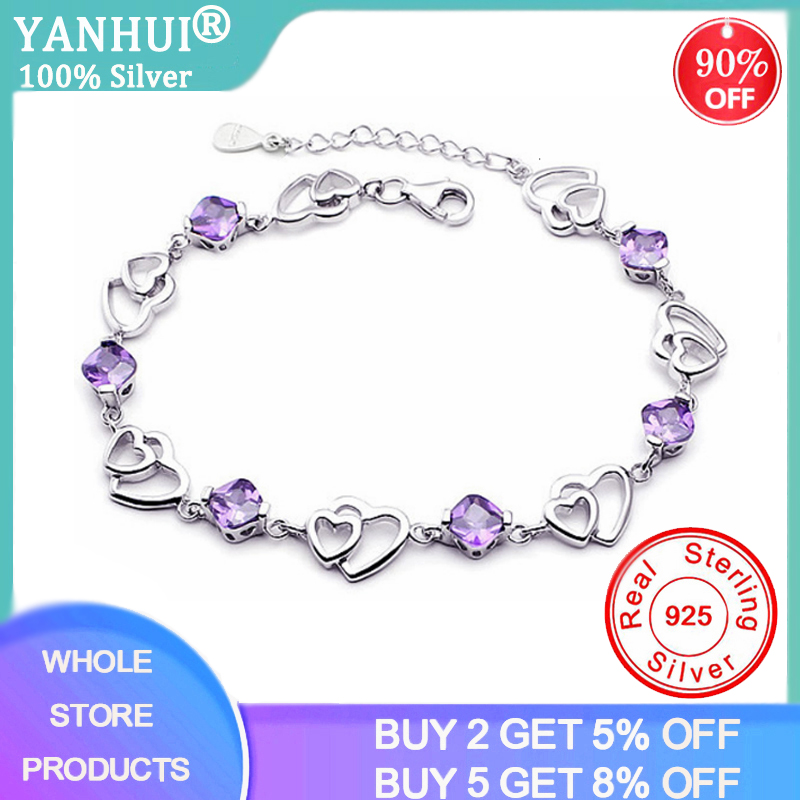 YANHUI Silver 925 Jewelry Elegant Bracelet Jewelry 925 Sterling Silver Natural Purple Amethyst Love Heart Cute Women Bracelet