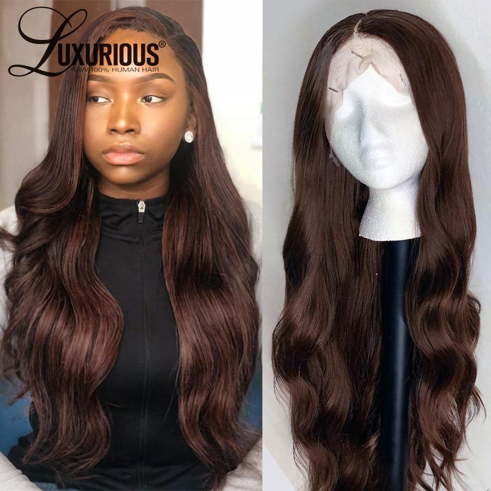 Perruque Lace Front Wig naturelle péruvienne naturelle, couleur marron foncé, 13x4, perruques Lace Front Wig, densité 150%, pour femmes