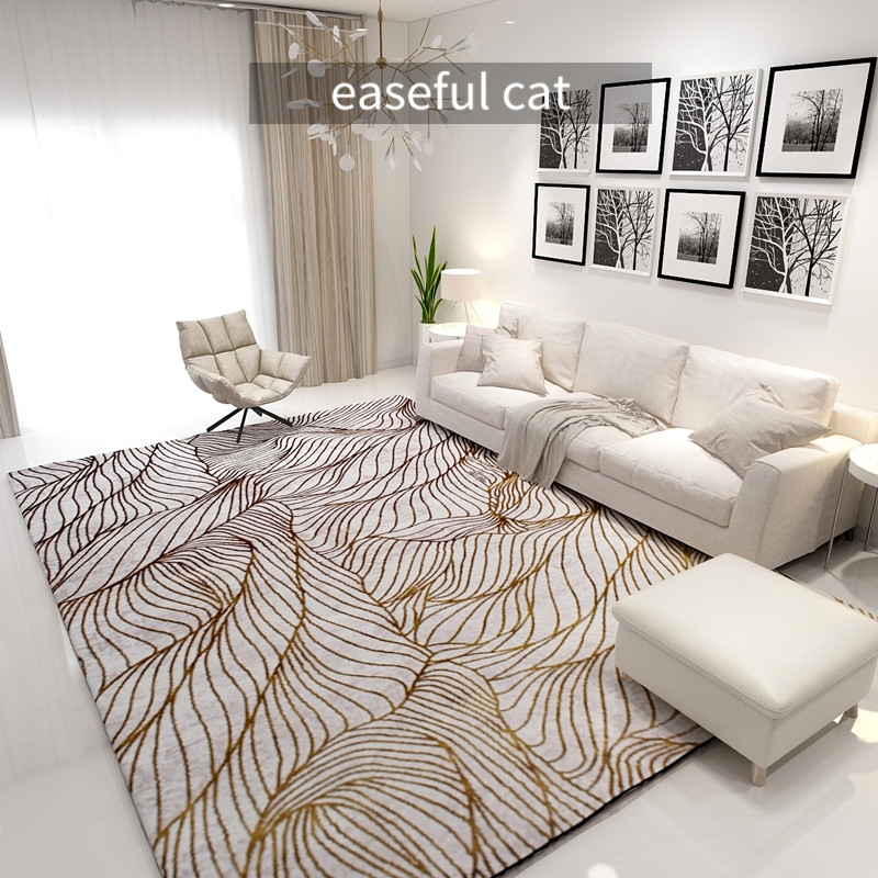 200*290cm Nordic Modern Golden Light Luxury Bedroom Bedside Dining Room Living Room Sofa Abstract Art Carpet