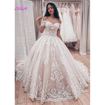 Muslim Lace Ball Gown Wedding Dresses 2021 Gorgeous Sweetheart Off the Shoulder Appliques Bridal Dress Long Party Gowns - discount item  36% OFF Wedding Dresses
