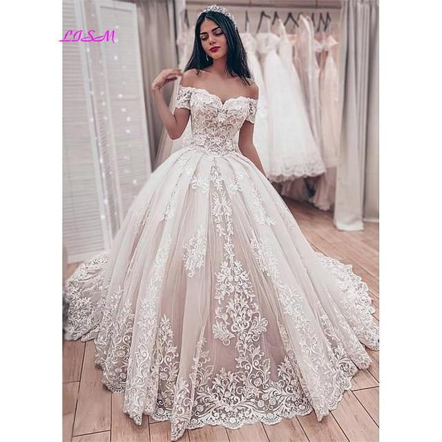 Muslim Spitze Ballkleid Brautkleider Gorgeous Schatz Weg Von der Schulter Appliques Braut Kleid Lange Hochzeit Party Kleider 2020