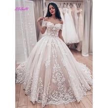 Muzułmańska koronka suknia ślubna suknie ślubne Gorgeous Sweetheart Off the Shoulder aplikacje suknia ślubna długie suknie na przyjęcia weselne 2020