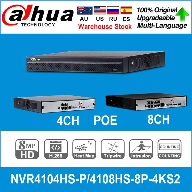 Dh nvr ヨーロッパ在庫 NVR4104HS P 4KS2 と NVR4108HS 8P 4KS2 4/8ch poe ポート H.265 ビデオレコーダーサポート onvif cgi 金属 poe nvr