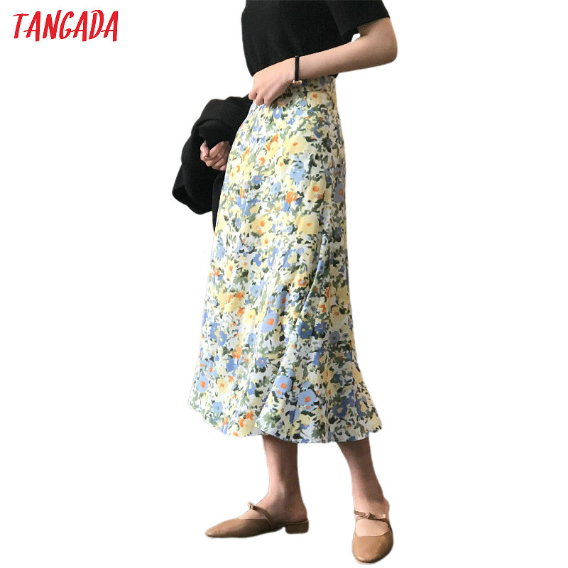 Tangada Women Floral A-line Midi Skirt Vintage Side Zipper Office Ladies Elegant Chic Skirts Quality ASF21