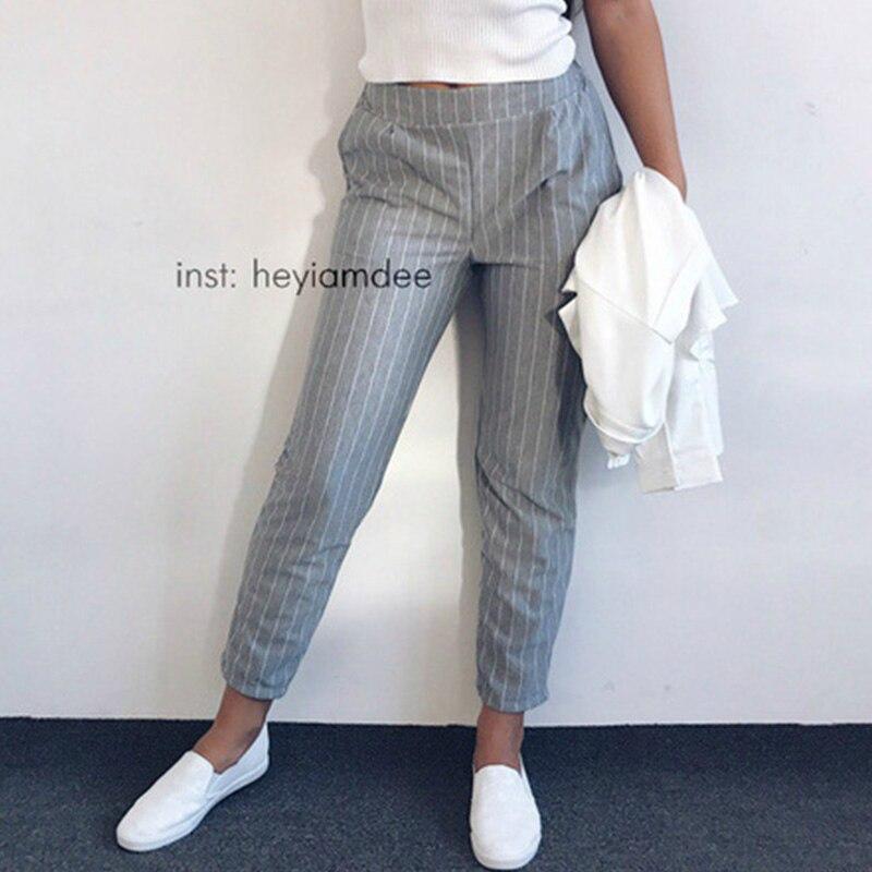 Women Striped Pants 2020 Spring Summer Fashion Female Elastic Waist Casual Loose Harem Pants Sweatpants Pencil Trousers Pantalon