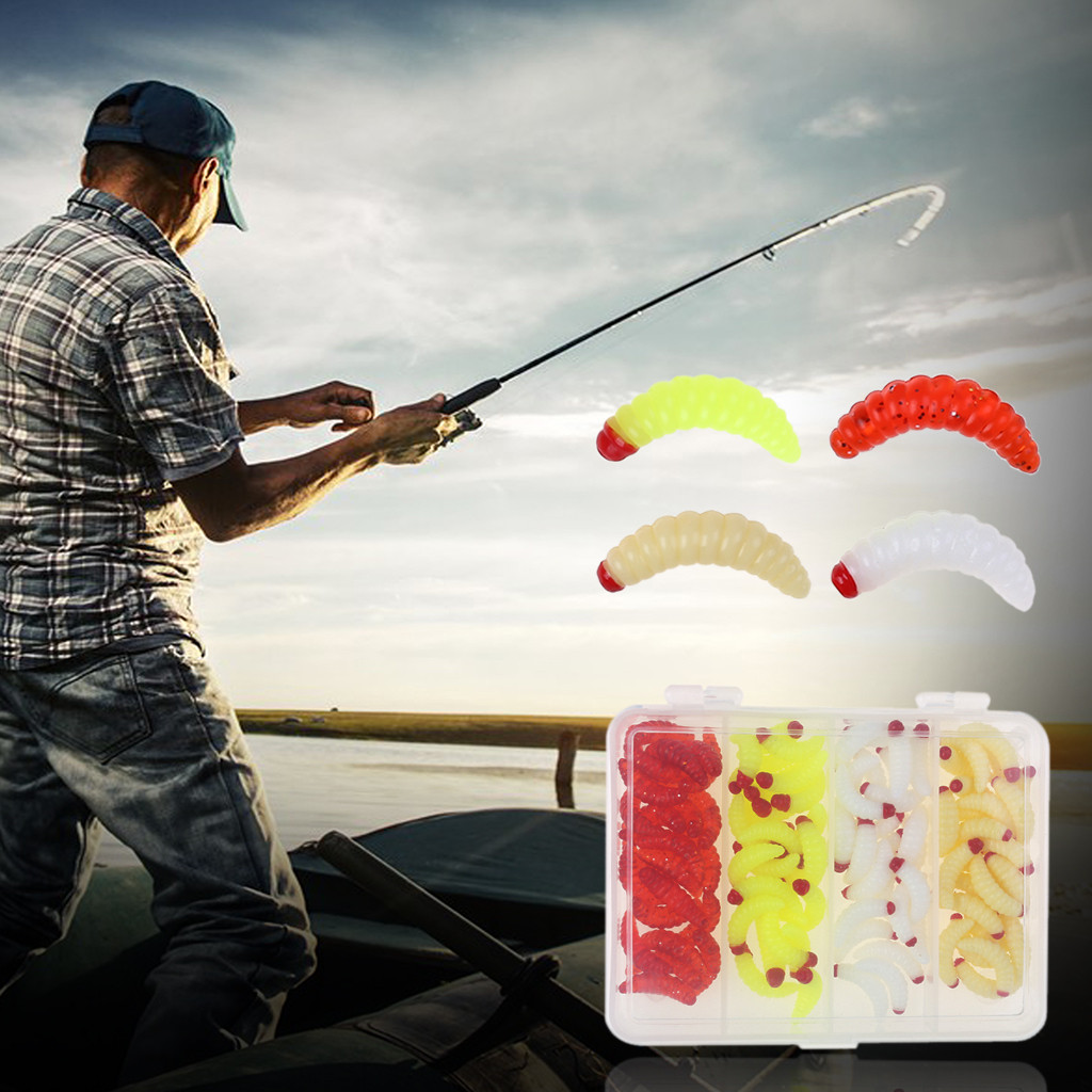 Bread Fishing Bug Soft Bait Grub Glow Smell Hand Pole Lure Carp Worm 100Pcs Set whopper plopper outdoor iscas artificiais 2019