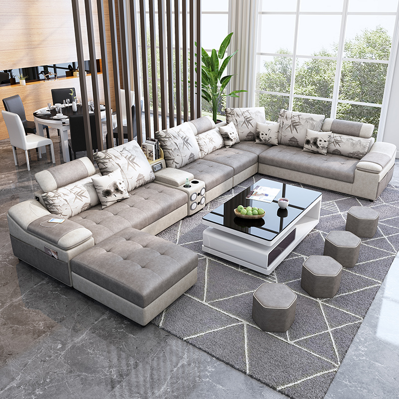 Living room furniture fabric technology leather sofa with coffee table speaker диван 1