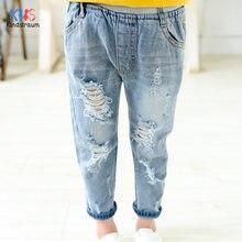 2020 модные детские джинсы рваные для девочек/мальчиков стильные