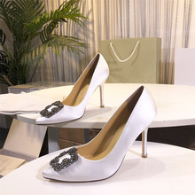 Luxury Brand Designed Women #8217 s Heels Classic Solid Thin Heels Bling Decoration Mature Ladies Shoes Genuine Leather Soft Shoes cheap STKEHIDBA Basic Silk Super High (8cm-up) Fits true to size take your normal size Neutral Metal Decoration Sheepskin Office Career