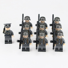 цена на WW2 Military German Army Soldier Figures Building Blocks WW2 German Army Machine gun platoon MG34 guns Weapon Helmet Bricks Toys