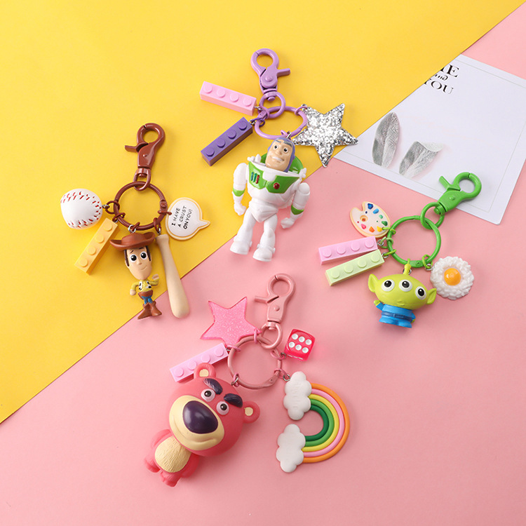Action Toy Story Keychain Toys for Children Cartoon Movie Toy Story 4 Woody Buzz Lightyear Alien Lotso Figures Key Ring Pendants