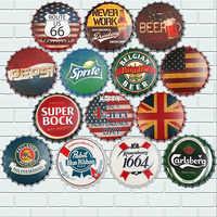 35cm Retro Beer Cap Metal Tin Signs Poster Pub Bar Wall Decor Vintage Metal Plate Home Decor Art Plaques