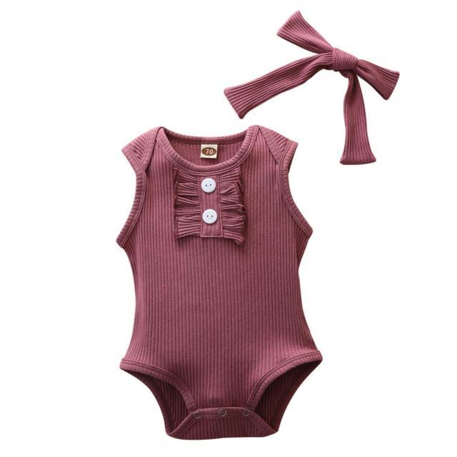 Летние однотонные комбинезоны без рукавов для маленьких девочек + повязка на голову; Комплект одежды для новорожденных; Сезонная распродаж...
