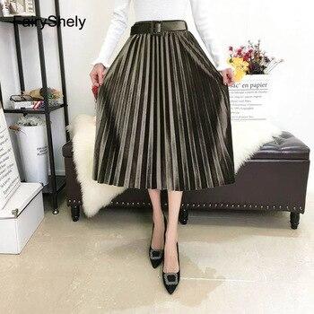 FairyShely 2020 Vintage Velvet Pleated Long Skirt Women High Waist Midi Skirt Korean Black Elastic Band Belt Maxi Skirts Womens 6