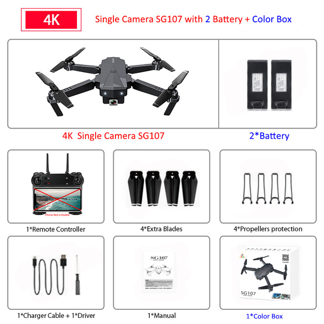 SG107 WIFI FPV Mini Drone 2.4GHZ 4K HD Adjustable Camera Follow Shooting Mode Folding Wing Quadcopter Outdoor Children Toys E58