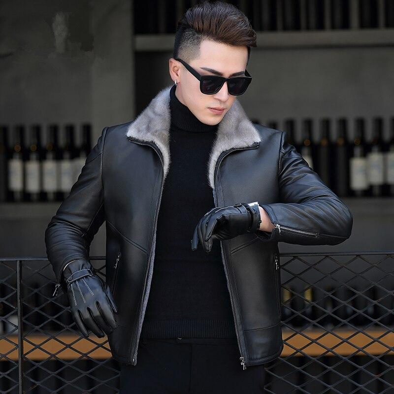 Winter Genuine Sheepskin Coats Leather Jacket Men Real Mink Fur Collar Coat Wool Fur Liner Parka Erkek Deri Ceket ZL845