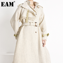 Long-Sleeve Trench Winter Women Tweed Windbreaker Plaid Autumn Fashion New Fit Lapel
