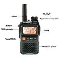 vhf uhf 2pcs Baofeng UV3R פלוס מכשיר הקשר Portable 3W UHF & VHF מיני UV 3R + UV3R פנס FM משדר Ham תחנת רדיו מכוניות (2)