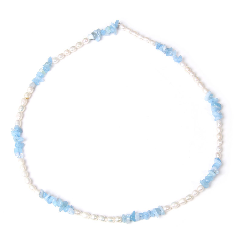 White Freshwater Pearls Necklace For Women Natural Chips Aquamarin Necklace Tiny Blue Gravel Beads Pendant Collar Party Jewelry