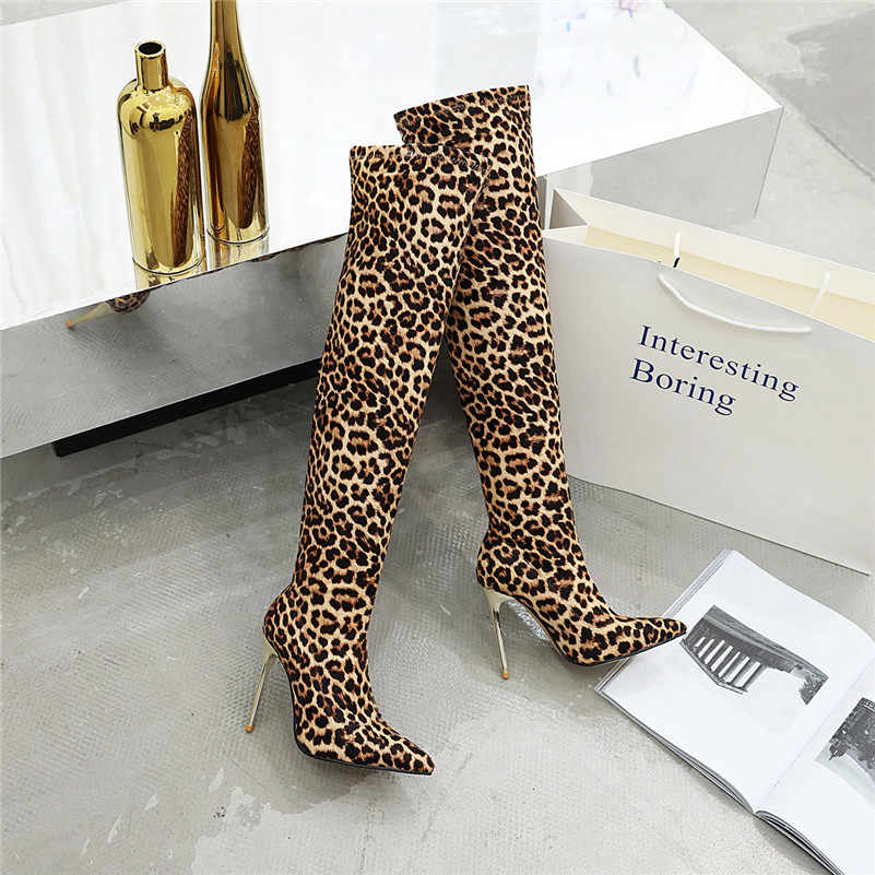 Meotina/зимние облегающие высокие сапоги; женские эластичные сапоги выше колена на тонком каблуке; блестящая обувь на очень высоком каблуке; Женская Осенняя обувь; размер 46